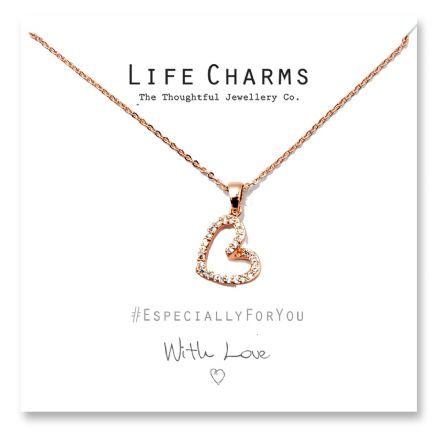EFY Rose Gold CZ Open Heart Necklace